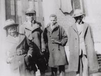 Makanda Ken McIntyre (far right), Louis Farrakhan fka Gene Walcott (2nd from right) & friends, St. Cyprian's Episcopal Church, Boston, circa 1941